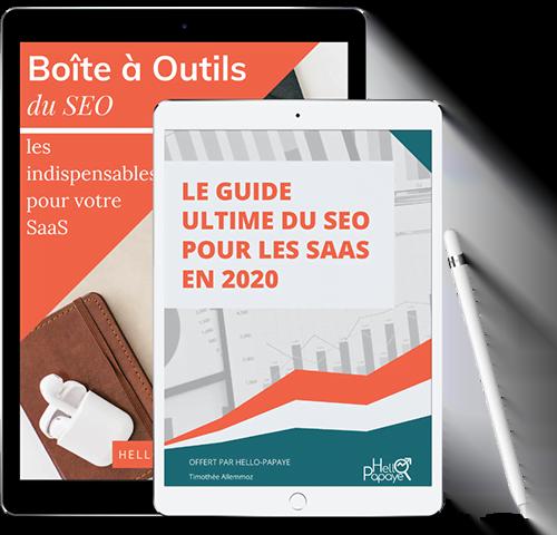 Guide du SEO pour les SaaS en PDF sur tablettes