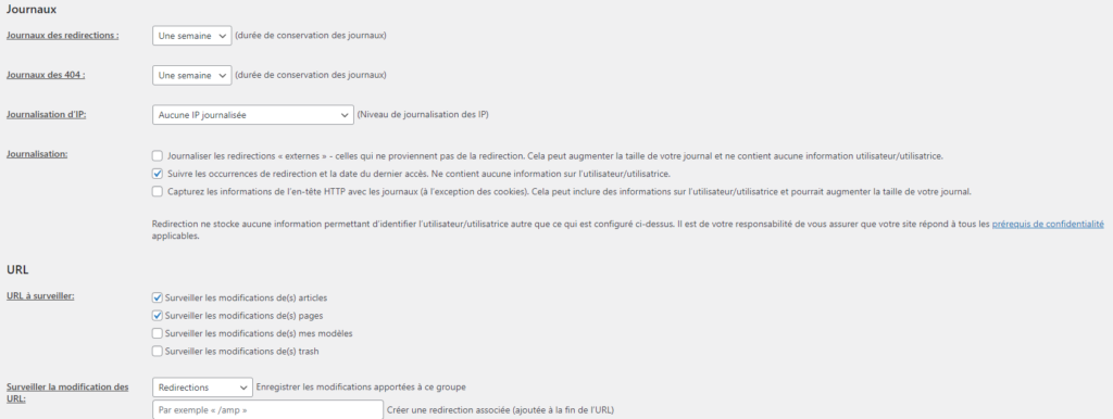 Interface Extension Redirection WordPress