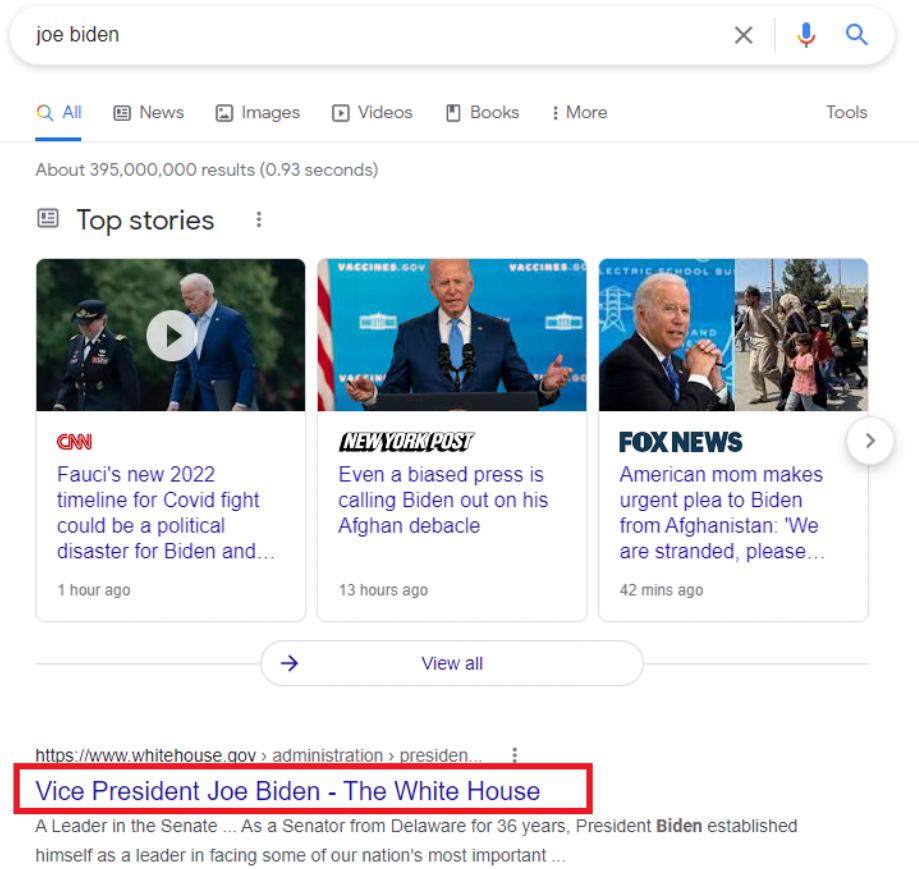 Exemple De Mauvaise Reecriture De Balise Title Par Google Avec Joe Biden