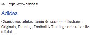 Reecriture De Balise Title Pour Adidas.fr